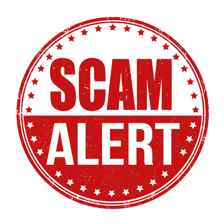 scam: Scam alert grunge rubber stamp on white background, vector illustration