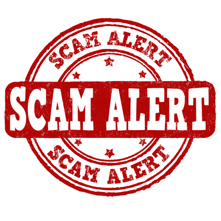 deceit: Scam alert grunge rubber stamp on white background, vector illustration