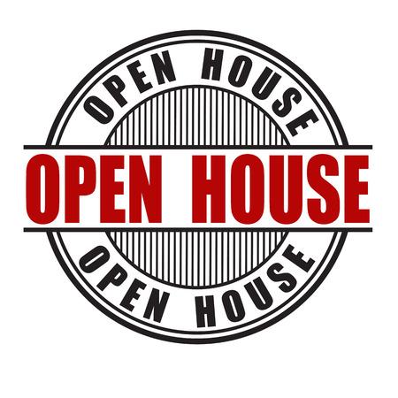 house construction: Open house grunge rubber stamp on white background, vector illustration Illustration