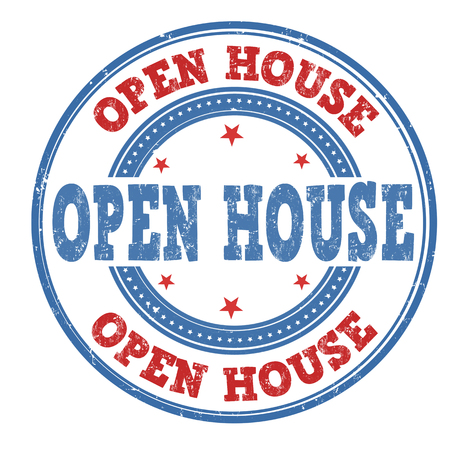 open house: Open house grunge rubber stamp on white background, vector illustration Illustration