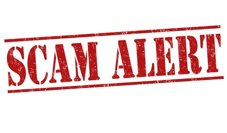 alerta: Sello de goma del grunge de estafa alerta sobre fondo blanco, ilustraci�n vectorial