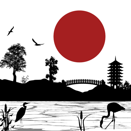 Japanese beautiful landscape poster, vector illustration