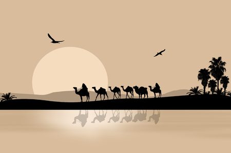 Camel caravan going through the desert on beautiful on sunset, vector illustration 스톡 콘텐츠