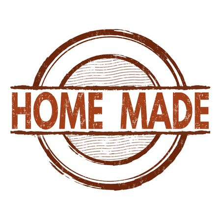 home made: Home made grunge rubber stamp on white background, vector illustration