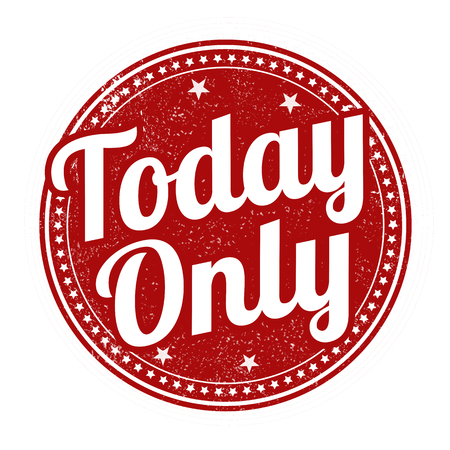 today: Today Only grunge rubber stamp on white background, vector illustration Illustration