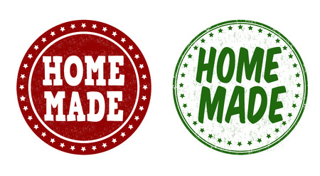 manually: Home made grunge rubber stamps on white background, vector illustration Illustration