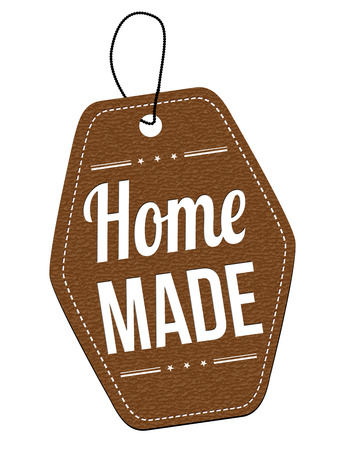 home made: Home made leather label or price tag on white background, vector illustration