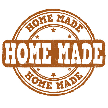 manually: Home made grunge rubber stamp on white background, vector illustration