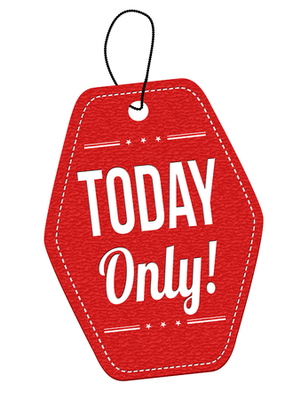 only: Today Only red leather label or price tag on white background, vector illustration