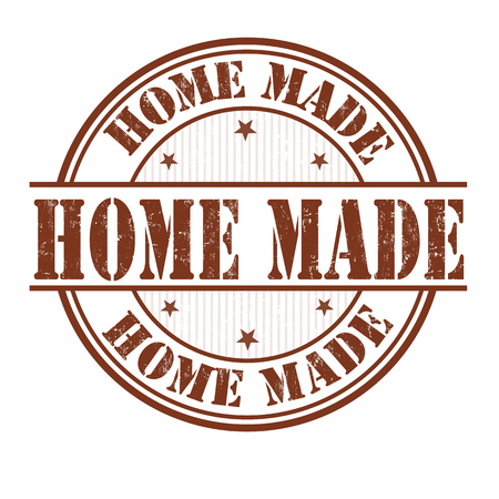 home products: Home made grunge rubber stamp on white background, vector illustration
