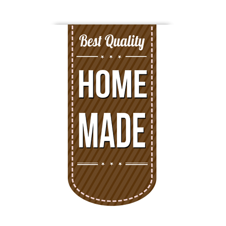 home made: Home made banner design over a white background, vector illustration