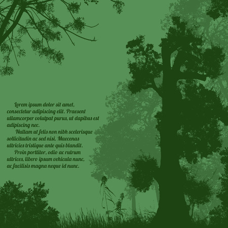 seasonal forest: Beautiful forest trees silhouette on green with space for your text, vector illustration Illustration