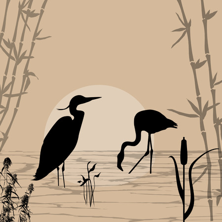 Heron and flamingo silhouettes on river at beautiful place, illustration background Illustration