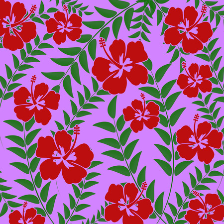 lila: Pattern with green leaves and Hibiscus flowers on lila background, vector illustration Illustration