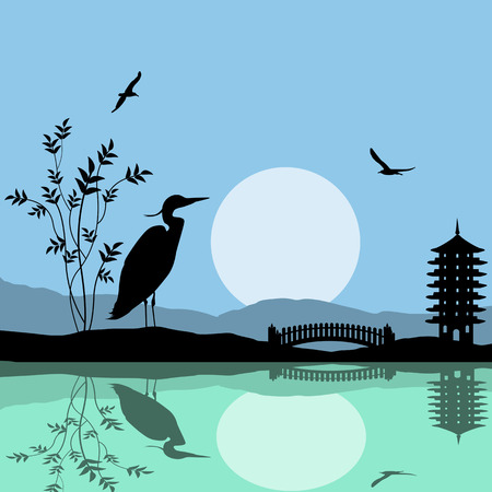 water animal bird card  poster: Heron silhouette on river at beautiful asian place, vector illustration