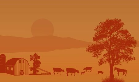 cows red barn: Beautiful rural landscape with barn and farm animals on retro style, vector illustration