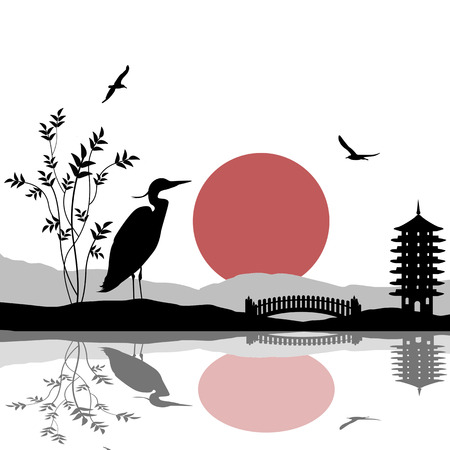 dream lake: Heron silhouette on river at beautiful asian place on white, vector illustration