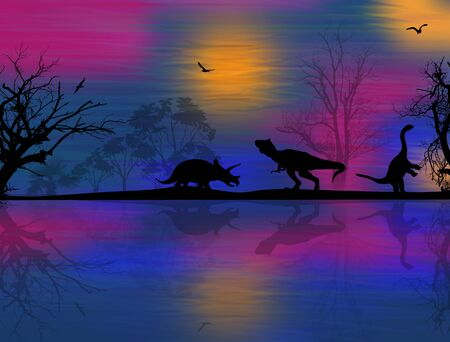 mesozoic: Dinosaurs silhouettes in beautiful landscape at blue night near water
