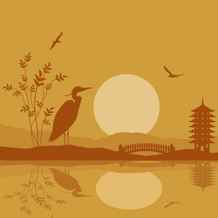 nightfall: Heron silhouette on river at beautiful asian place on orange, vector illustration