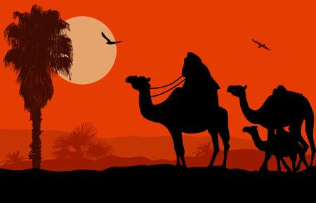 Camel caravan on beautiful landscape at sunset, vector illustration