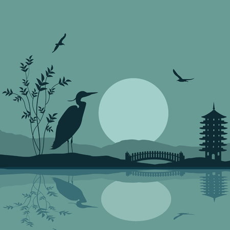 sunset lake: Heron silhouette on river at beautiful asian place on blue, vector illustration Illustration