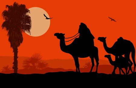 bedouin: Camel caravan on beautiful landscape at sunset, vector illustration