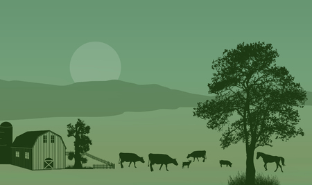horse stable: Beautiful rural landscape with barn and farm animals on retro style, vector illustration