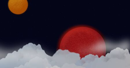 sunbeam background: Planets in space and clouds, background illustration