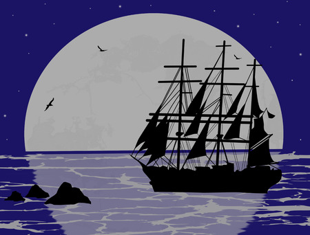 brigand: Boat floating on the ocean on blue night, vector illustration