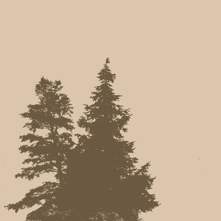 Silhouettes of two pine trees on a retro style background with space for your text, vector illustration