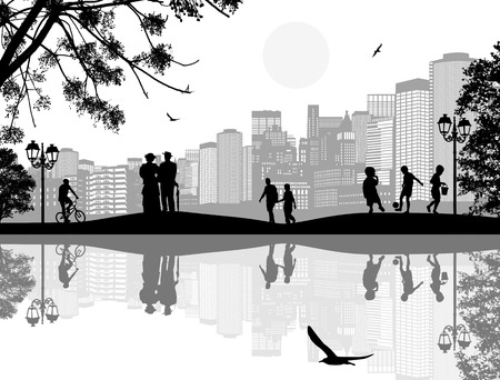 people silhouette: Vector design background with beautiful landscape and people silhouette with reflection on water