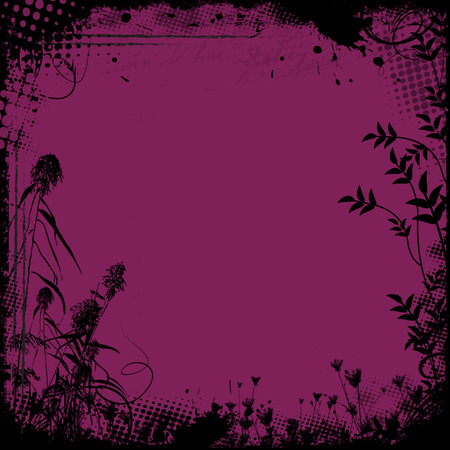 lila: Floral frame in grunge style on purple background, vector illustration