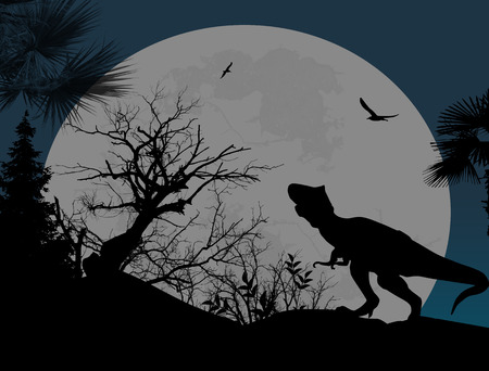 mesozoic: Dinosaurs silhouettes in beautiful landscape at night, vector illustration Illustration