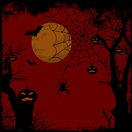 calabazas de halloween: Fondo de Halloween con la luna llena, tela de araña y calabazas, ilustración vectorial Vectores