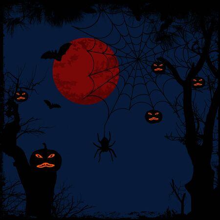 thriller: Halloween background with full moon, spider web and pumpkins, vector illustration Illustration