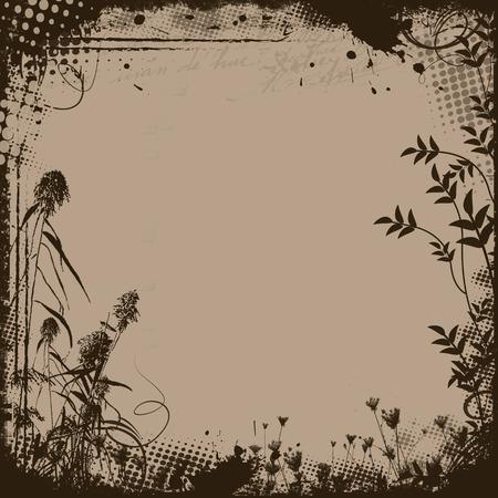 grunge frame: Floral frame in grunge style on retro background, vector illustration Illustration