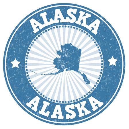 grunge rubber stamp: Grunge rubber stamp with the name and map of Alaska, vector illustration