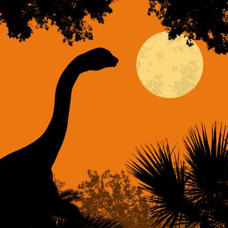 noche y luna: Silueta de dinosaurio (brontosaurio) en el hermoso bosque en la luz de la luna llena