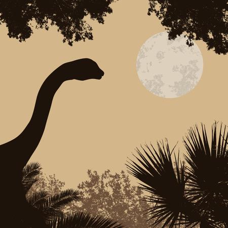brontosaurus: Dinosaur silhouette (brontosaurus) on beautiful forest in retro style