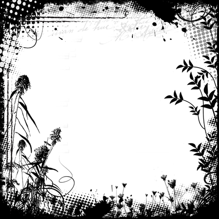 grunge frame: Floral frame in grunge style on white background, vector illustration