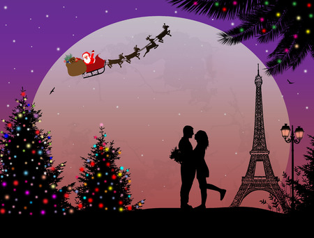 Lovers in Paris, with Santas sleigh on romantic background, vector illustration