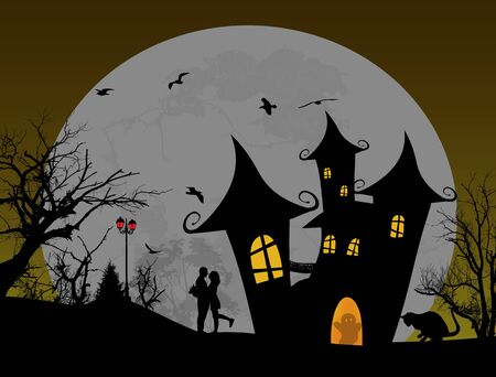 halloween scary: Scary halloween background with castle and couple on scarry place, vector illustration