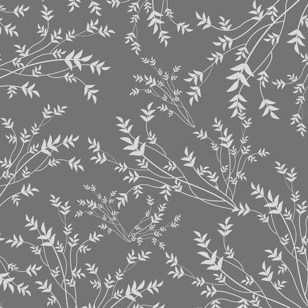 botanical drawing: Beauty floral pattern on grey background, vector illustration