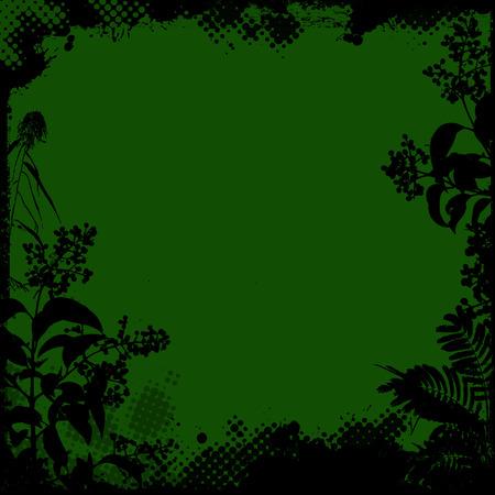 floral grunge: Floral frame in grunge style on green background, vector illustration
