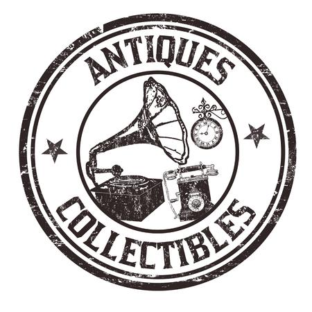 reloj antiguo: Antigüedades y objetos de colección grunge sello de goma en el fondo blanco, ilustración vectorial Vectores