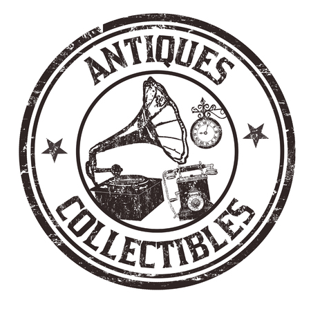 Antiques and collectibles grunge rubber stamp on white background, vector illustration