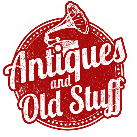 antiques: Antiques and old stuff grunge rubber stamp on white background, vector illustration