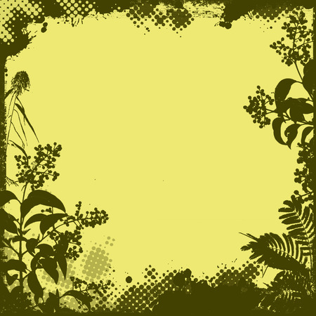 grunge floral: Floral frame in grunge style on yellow background, vector illustration