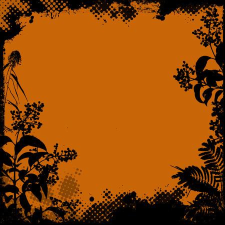 ornate frame: Floral frame in grunge style on orange background, vector illustration