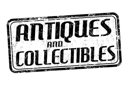 collectibles: Antiques and collectibles grunge rubber stamp on white background, vector illustration